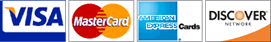 Accepted Credit Cards - Visa, MasterCard, American Express, Discover